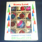Click to view larger image of Box Poland 1950s Pink Blue White Mica Glass Christmas Ornaments (Image2)