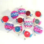 Click to view larger image of Box Poland 1950s Pink Blue White Mica Glass Christmas Ornaments (Image3)