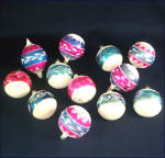 Click to view larger image of Box Poland 1950s Pink Blue White Mica Glass Christmas Ornaments (Image4)