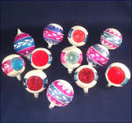 Click to view larger image of Box Poland 1950s Pink Blue White Mica Glass Christmas Ornaments (Image7)
