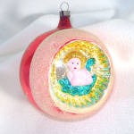 Embossed Angel Indent Large Glass Christmas Ornament