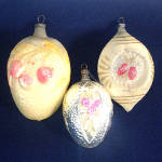 Click to view larger image of Antique German Embossed Fruit Flower Glass Christmas Ornaments (Image6)
