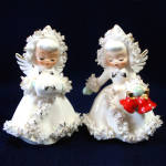 Click here to enlarge image and see more about item 10117-2: Holt Howard Ermine Spaghetti Angels Christmas Candle Holders Set