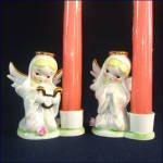 Click to view larger image of 2 Pearl Lusterware Japan Kneeling Angel Candle Holder Figurines (Image5)