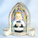 Click to view larger image of Christmas Choir Boy Ceramic Wall Pocket Candle Holder (Image1)