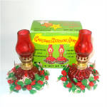 Christmas Miniature Ruby Flashed Glass Oil Lamps Mint in Box