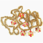 Click to view larger image of Antique Christmas Tinsel Garland With Glass Star Ornaments (Image1)