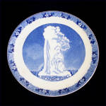 Click here to enlarge image and see more about item 10202: Adams Old Faithful Yellowstone Blue Transferware Souvenir Plate