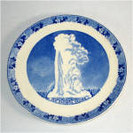 Click to view larger image of Adams Old Faithful Yellowstone Blue Transferware Souvenir Plate (Image3)