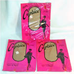 Click here to enlarge image and see more about item 10219: 3 Pair 1960s Caprice Nylon Stockings Size 11