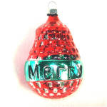 Click to view larger image of Red Green Merry Pear Inge Glas Christmas Ornament Mint in Box (Image2)