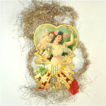 Click to view larger image of Victorian Die-Cut Paper and Tinsel Scrap Christmas Ornament (Image1)