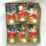 Click to view larger image of Box Japan 1950s Compo Boot Christmas Ornaments With Trees, Figures (Image2)