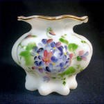 Click here to enlarge image and see more about item 10300: Consolidated Opal Glass Vase Handpainted Violets