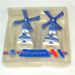 Click here to enlarge image and see more about item 10311: Delft Mechanical Windmill Salt Pepper Shakers in Original Box