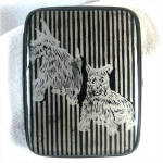 Click here to enlarge image and see more about item 10316: Black and Silver Scottie Scotty Dogs Cigarette Case