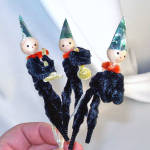 Click here to enlarge image and see more about item 10320: 3 Chenille Musical Pixie Elves on Pipe Cleaner Stems