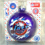 Click here to enlarge image and see more about item 10365: Utah Jazz Basketball Team Glass Christmas Ornament Mint in Box