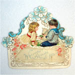 Click here to enlarge image and see more about item 10375-01: Antique Embossed Easter Card Little Boy, Girl, Lamb, Flowers