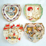 4 Whitney 1920s Die Cut Valentine Cards