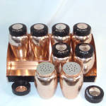 Click to view larger image of Kromex Pink or Copper Color Aluminum 8-Jar Spice Set With Rack (Image2)