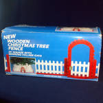 Red White Wooden Christmas Tree Fence in Original Box