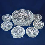 Click here to enlarge image and see more about item 10536-4: 7 Piece EAPG Berry Fruit Bowl Set Hobstar Leaf