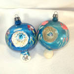 Poland Fancy Painted Flower Triple Indent Glass Christmas Ornaments