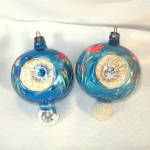 Click to view larger image of Poland Fancy Painted Flower Triple Indent Glass Christmas Ornaments (Image2)