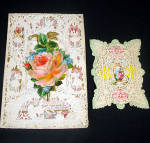 Click here to enlarge image and see more about item 10550: 2 Victorian Paper Lace Overlay Valentine Cards