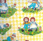 Click to view larger image of Raggedy Ann and Andy Vintage 9 Foot Roll Contact Paper Wallcovering (Image4)