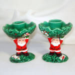 Click here to enlarge image and see more about item 10570: Pair Napco Santa Claus and Holly Christmas Candlesticks