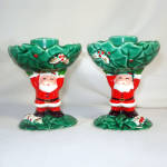 Click to view larger image of Pair Napco Santa Claus and Holly Christmas Candlesticks (Image6)
