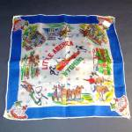 Click here to enlarge image and see more about item 10716: Souvenir Little America Wyoming Silk Hankie Western Cowboys