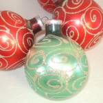 Click to view larger image of Box Large West Germany Glitter Swirl Glass Christmas Ornaments (Image3)