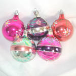 Click to view larger image of Poland Colorful Glittered Flowers Glass Christmas Ornaments (Image1)