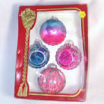 Click here to enlarge image and see more about item 10877: Glittered Vivid Pink and Blue Glass Christmas Ornaments