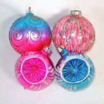 Click to view larger image of Glittered Vivid Pink and Blue Glass Christmas Ornaments (Image2)
