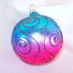 Click to view larger image of Glittered Vivid Pink and Blue Glass Christmas Ornaments (Image3)