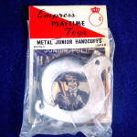 Click here to enlarge image and see more about item 10888: Junior Police Handcuffs 1950s Japan Toy Mint in Package