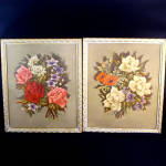 Click here to enlarge image and see more about item 10891: Pair 1940s Large Framed Averill Floral Prints