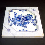 Click here to enlarge image and see more about item 10896: Boxed West Germany Blue Danube Floral Tile Trivet