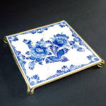 Click to view larger image of Boxed West Germany Blue Danube Floral Tile Trivet (Image2)
