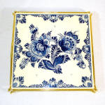 Click to view larger image of Boxed West Germany Blue Danube Floral Tile Trivet (Image4)