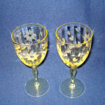 Click to view larger image of Lancaster Jubilee Topaz Yellow Paneled Water Goblet Stem (Image1)