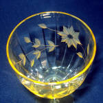 Click to view larger image of Lancaster Jubilee Topaz Yellow Paneled Water Goblet Stem (Image3)