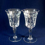 Click here to enlarge image and see more about item 10911: Pair 1920s Crystal Water Goblets Gray Cut Balls Leaves