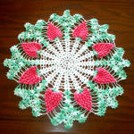 Click here to enlarge image and see more about item 10952: Crocheted Pink Grapes Vintage Doily 17 inches Round