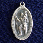 Click here to enlarge image and see more about item 11003-3: Sterling Silver Saint Christopher Medal Pendant