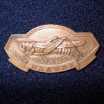 Click here to enlarge image and see more about item 11027-3: Kansas Grand Army of the Republic Bronze Medal Pin Grasshopper